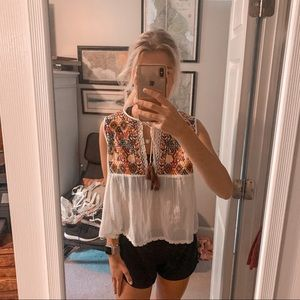 free people white patterned top